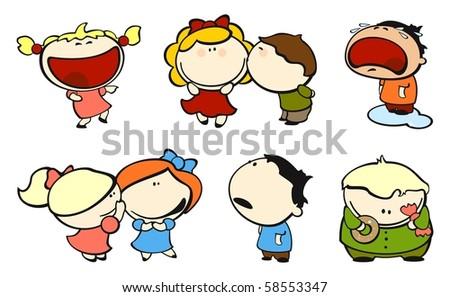 Funny kids #2 - love (raster version) - stock photo