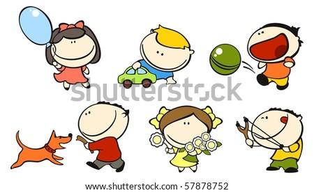 Funny kids #1 - play (raster version) - stock photo