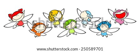 Funny kids #77 - rainbow fairies (raster version) - stock photo