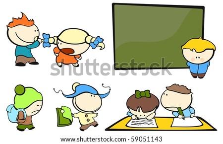Funny kids #4 - school (raster version) - stock photo