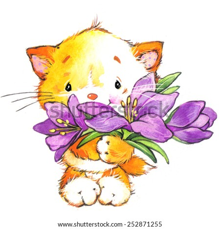 Funny kitten and crocus flower. Decor for holiday greetings card and kids background. watercolor illustration - stock photo