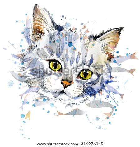Funny kitten and fish T-shirt graphics, Funny kitten  illustration with splash watercolor textured background. illustration watercolor kitten  fashion print, poster for textiles, fashion design - stock photo