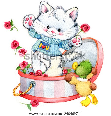funny kitten and funny duck with red rose. background for kids congratulations. watercolor - stock photo