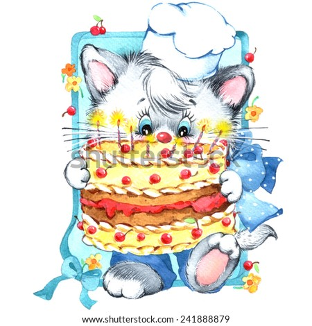 funny kitten. decor for kid Birthday background for holiday. watercolor illustration - stock photo