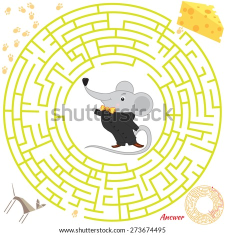 Funny labyrinth. Help the mouse find the cheese. Themed maze game.  cartoon mouse illustration. Isolated on white background. Answer included - stock photo