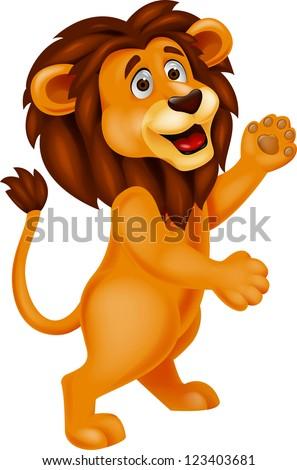 Funny lion cartoon waving - stock photo