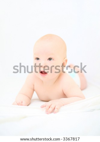 Funny little baby on white #3 - stock photo