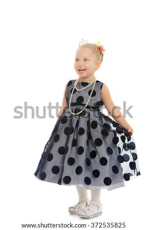 Funny little blonde girl - stock photo