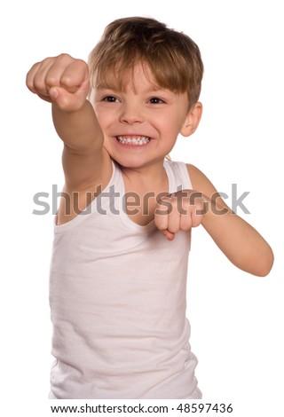Funny little boxing  boy isolated on white background. Beautiful caucasian model. - stock photo