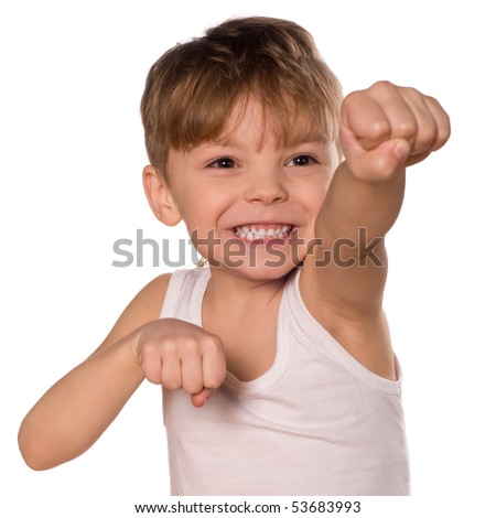 Funny little boxing  boy isolated on white background. Beautiful caucasian model.