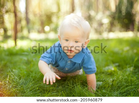 funny little boy crawling on the grass in the park