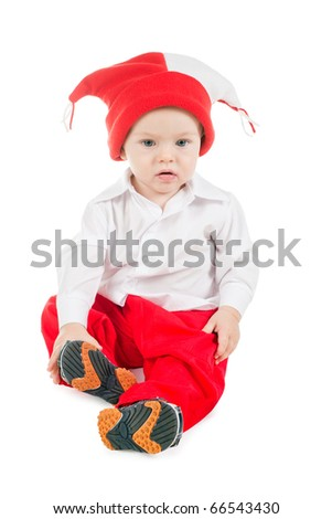 funny little boy in red hat