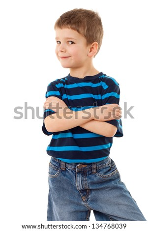Funny little boy in striped shirt, isolated on white