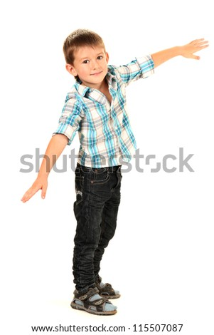 funny little boy isolated on white