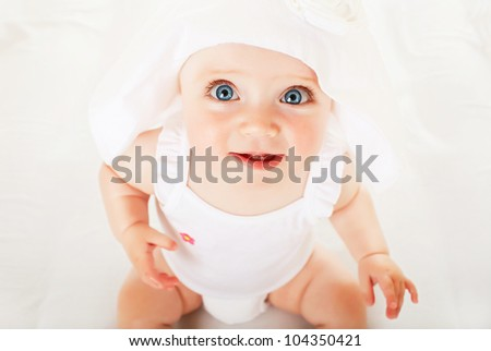 funny little child in white hat - stock photo