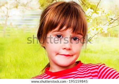 Funny little girl - stock photo