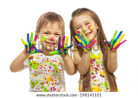 Funny little girl and boy with hands painted in colorful paint. Isolated on white background. - stock photo