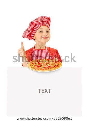 Funny little girl holding pizza and white blank slate - stock photo