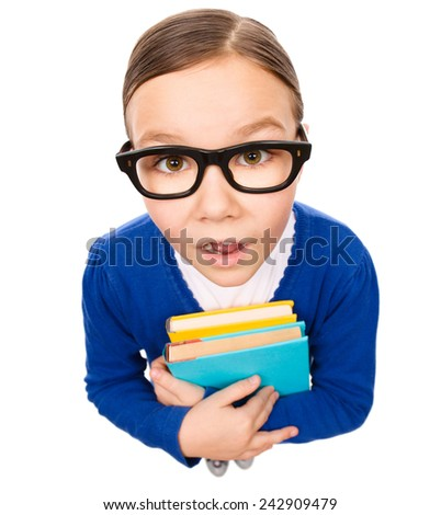 Funny little girl is holding books and open her mouth in astonishment, fisheye portrait, isolated over white - stock photo