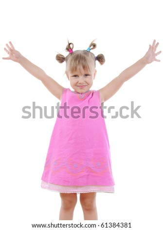 Funny little girl. Isolated on white background - stock photo