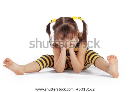 Funny little girl posing over white