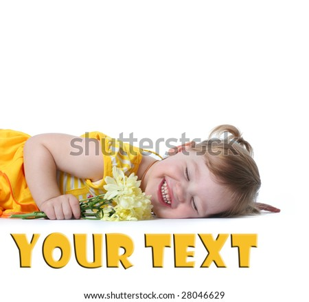 funny little girl relaxing with yellow flowers - stock photo