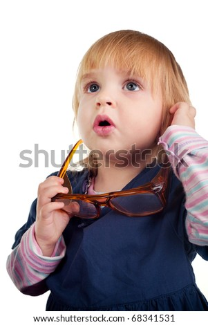 funny little girl surprised - stock photo
