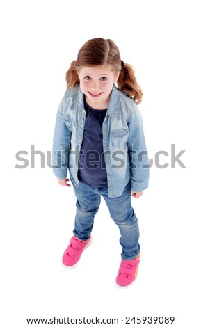Funny little girl toothless with pigtails looking from above isolated on a white background