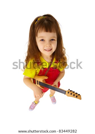 Funny little girl with a guitar isolated on white background - stock photo