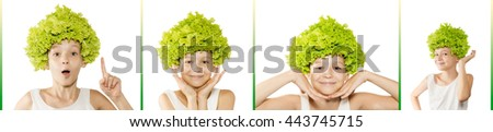 Funny little girl with lettuce on her head in different poses. Healthy lifestyle, vegetarian food concept. Isolated - stock photo