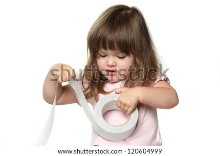 funny little girl with Scotch tape - stock photo