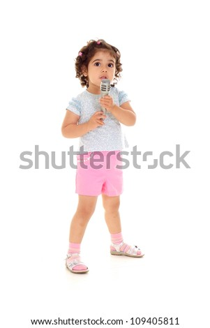 Funny little girl with tails in a white t-shirt - stock photo