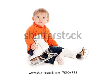 funny little kid with skates - stock photo
