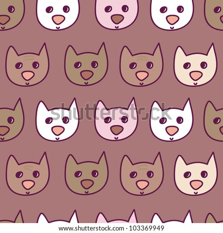 funny little kitten seamless pattern in jpg - stock photo