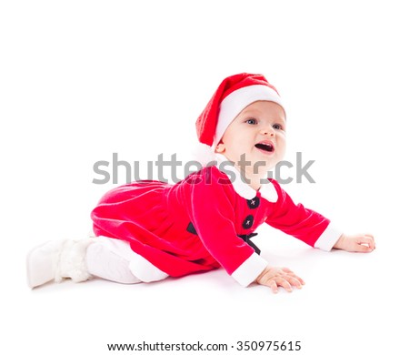 Funny little santa girl  isolated on white