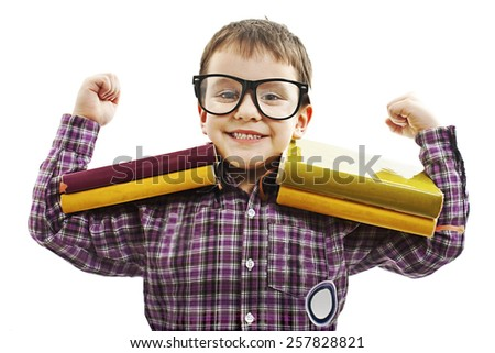 Funny Little Schoolboy. Isolated on white background - stock photo