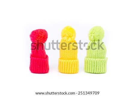 funny little winter hats - stock photo