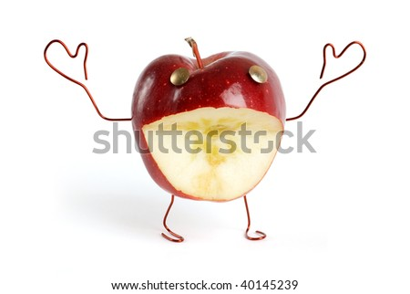 Funny live apple with open arms - stock photo