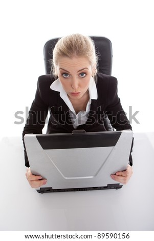funny looking businesswoman - stock photo
