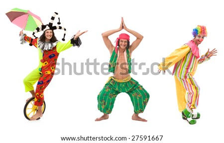 funny looking circus comedians with different poses on white - stock photo