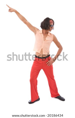 funny looking retro style man dancing on white background - stock photo
