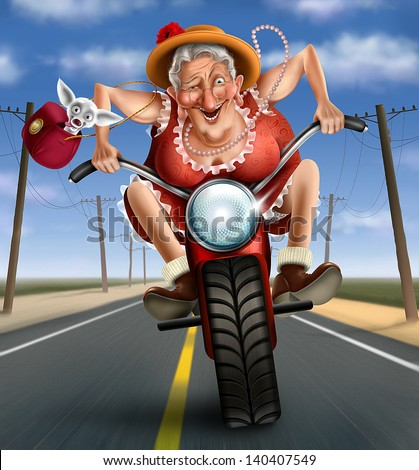 Funny mad granny on a bike - stock photo