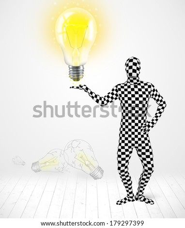 Funny man in full body suit with glowing light bulb, new idea concept