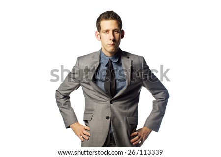 funny man in gray suit with emotions on white background  - stock photo