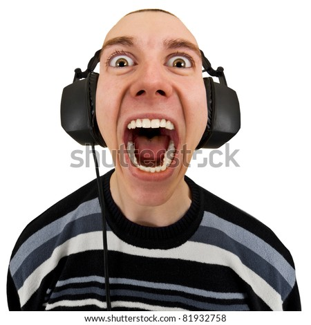 Funny man in the stereo headphones shouting isolated on a white background - stock photo