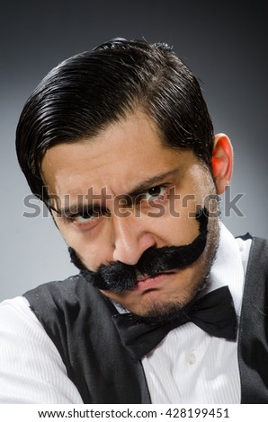 Funny man in vintage concept - stock photo