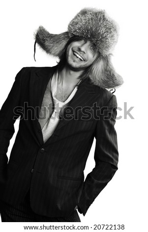 Funny man isolated on white - stock photo
