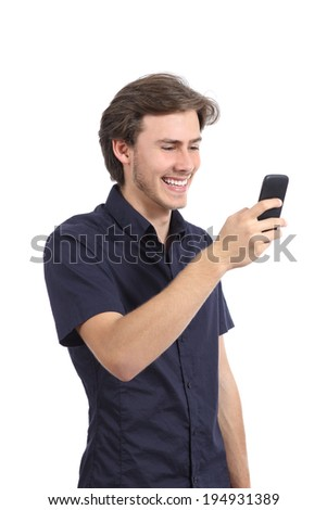 Funny man laughing using a smart phone isolated on a white background