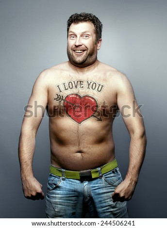Funny man make declaration of love to you - stock photo