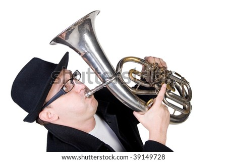 Funny man playing a horn (isolated on white) - stock photo